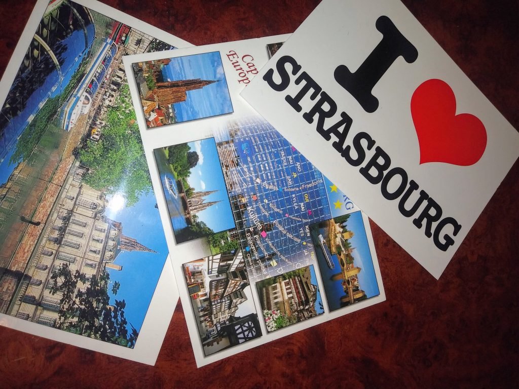 Pictures of three postcards